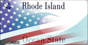 Rhode Island with American Flag Wholesale Novelty Metal Key Chain KC-12368