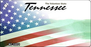 Tennessee with American Flag Wholesale Novelty Metal Key Chain KC-12371