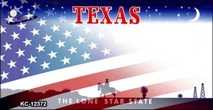 Texas with American Flag Wholesale Novelty Metal Key Chain KC-12372