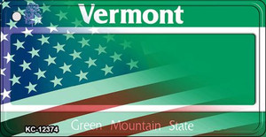 Vermont with American Flag Wholesale Novelty Metal Key Chain KC-12374