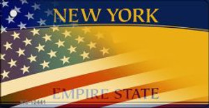 New York with American Flag Wholesale Novelty Metal Key Chain KC-12441