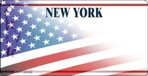 New York with American Flag Wholesale Novelty Metal Key Chain KC-12442