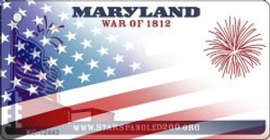 Maryland with American Flag Wholesale Novelty Metal Key Chain KC-12443