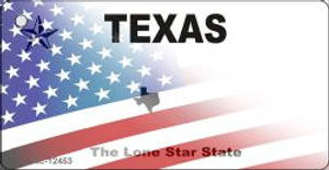 Texas with American Flag Wholesale Novelty Metal Key Chain KC-12453