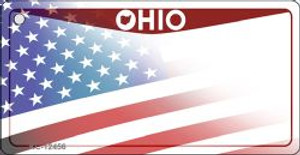 Ohio with American Flag Wholesale Novelty Metal Key Chain KC-12456