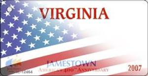 Virginia with American Flag Wholesale Novelty Metal Key Chain KC-12464