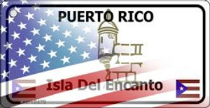 Puerto Rico with American Flag Wholesale Novelty Metal Key Chain KC-12479