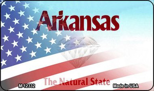 Arkansas with American Flag Wholesale Novelty Metal Magnet M-12332
