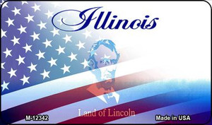 Illinois with American Flag Wholesale Novelty Metal Magnet M-12342