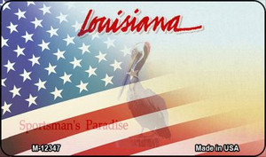 Louisiana with American Flag Wholesale Novelty Metal Magnet M-12347