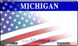 Michigan with American Flag Wholesale Novelty Metal Magnet M-12351