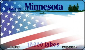 Minnesota with American Flag Wholesale Novelty Metal Magnet M-12352