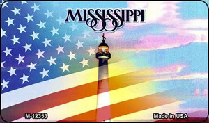 Mississippi with American Flag Wholesale Novelty Metal Magnet M-12353
