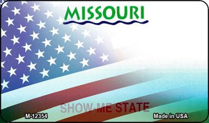 Missouri with American Flag Wholesale Novelty Metal Magnet M-12354