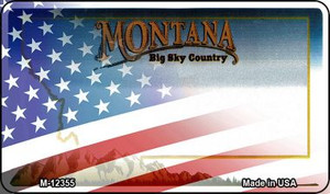 Montana with American Flag Wholesale Novelty Metal Magnet M-12355