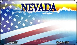 Nevada with American Flag Wholesale Novelty Metal Magnet M-12357