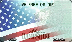 New Hampshire with American Flag Wholesale Novelty Metal Magnet M-12358