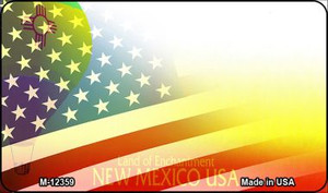 New Mexico with American Flag Wholesale Novelty Metal Magnet M-12359
