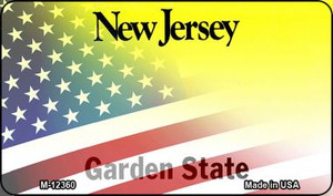 New Jersey with American Flag Wholesale Novelty Metal Magnet