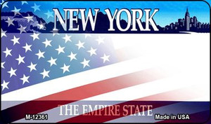 New York with American Flag Wholesale Novelty Metal Magnet M-12361