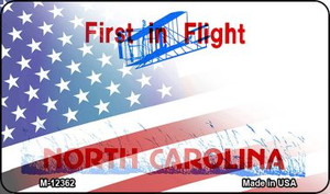North Carolina with American Flag Wholesale Novelty Metal Magnet M-12362