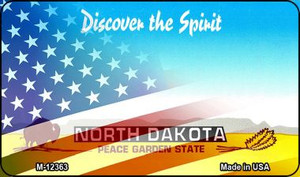 North Dakota with American Flag Wholesale Novelty Metal Magnet M-12363