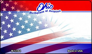 Ohio with American Flag Wholesale Novelty Metal Magnet M-12364