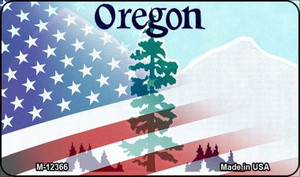 Oregon with American Flag Wholesale Novelty Metal Magnet M-12366