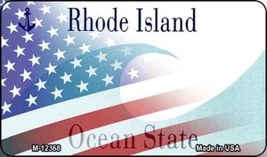 Rhode Island with American Flag Wholesale Novelty Metal Magnet M-12368