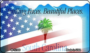 South Carolina with American Flag Wholesale Novelty Metal Magnet M-12369