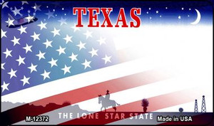 Texas with American Flag Wholesale Novelty Metal Magnet M-12372