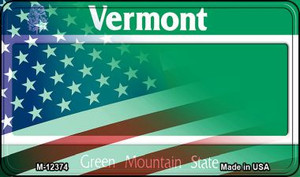 Vermont with American Flag Wholesale Novelty Metal Magnet M-12374
