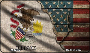 Illinois/American Flag Wholesale Novelty Metal Magnet M-12392