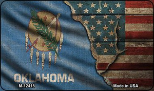 Oklahoma/American Flag Wholesale Novelty Metal Magnet M-12415
