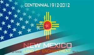 New Mexico with American Flag Wholesale Novelty Metal Magnet M-12430