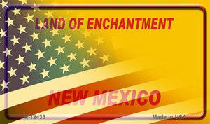 New Mexico with American Flag Wholesale Novelty Metal Magnet M-12433