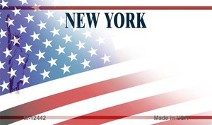 New York with American Flag Wholesale Novelty Metal Magnet M-12442