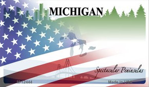 Michigan with American Flag Wholesale Novelty Metal Magnet M-12444