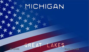 Michigan with American Flag Wholesale Novelty Metal Magnet M-12449