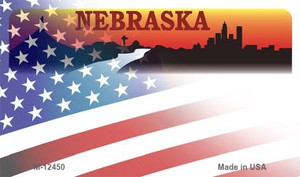 Nebraska with American Flag Wholesale Novelty Metal Magnet M-12450