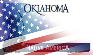 Oklahoma with American Flag Wholesale Novelty Metal Magnet M-12455