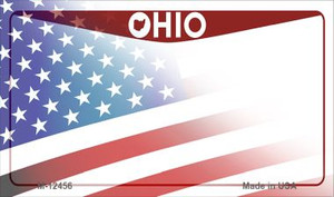 Ohio with American Flag Wholesale Novelty Metal Magnet M-12456