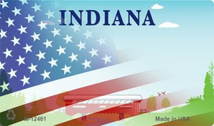 Indiana with American Flag Wholesale Novelty Metal Magnet M-12461