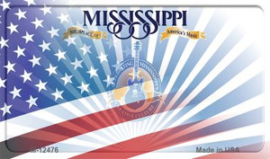Mississippi with American Flag Wholesale Novelty Metal Magnet M-12476