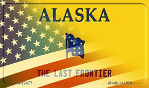 Alaska with American Flag Wholesale Novelty Metal Magnet M-12477
