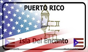 Puerto Rico with American Flag Wholesale Novelty Metal Magnet M-12479