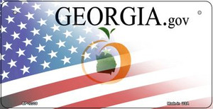 Georgia with American Flag Wholesale Novelty Metal Bicycle Plate BP-12339