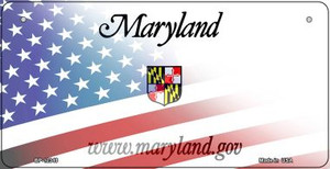 Maryland with American Flag Wholesale Novelty Metal Bicycle Plate BP-12349