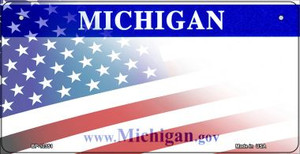 Michigan with American Flag Wholesale Novelty Metal Bicycle Plate BP-12351