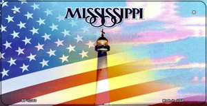 Mississippi with American Flag Wholesale Novelty Metal Bicycle Plate BP-12353